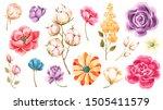 watercolor flowers  leaves ... | Shutterstock . vector #1505411579