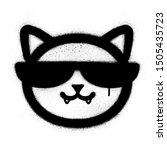 graffiti cool cat icon sprayed... | Shutterstock .eps vector #1505435723