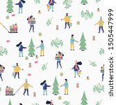 christmas seamless pattern with ... | Shutterstock .eps vector #1505447999