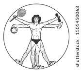 Athlete Vitruvian Man With...