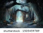 Small photo of Archway in an enchanted fairy forest landscape, misty dark mood, can be used as background