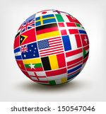 Flags Of The World In Globe....