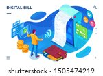 isometric bill paying screen ... | Shutterstock .eps vector #1505474219