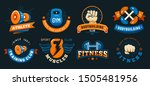 vintage gym emblem. athlete... | Shutterstock .eps vector #1505481956