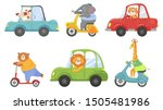 cute animals on transport.... | Shutterstock .eps vector #1505481986