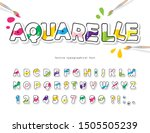 cartoon colorful font for kids. ... | Shutterstock .eps vector #1505505239