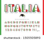 italy cartoon font. italian... | Shutterstock .eps vector #1505505893