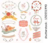 Stock vector wedding romantic collection with labels ribbons hearts flowers arrows wreaths laurel and 150551990