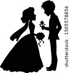 silhouette of wedding couple  ... | Shutterstock .eps vector #1505578856