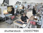 cnc machine shop with lathes ... | Shutterstock . vector #150557984