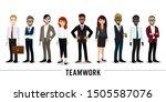 businessman and businesswoman... | Shutterstock .eps vector #1505587076