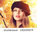Autumn Woman In A Beret. Hat....