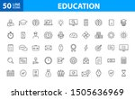 set of 50 education and... | Shutterstock .eps vector #1505636969