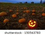 jack o lantern in pumpkin patch | Shutterstock . vector #150563783