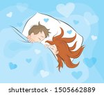 romantic couple lying in bed... | Shutterstock .eps vector #1505662889