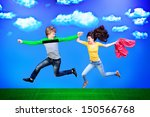 couple of happy young people... | Shutterstock . vector #150566768