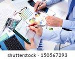 hand with calculator. finance... | Shutterstock . vector #150567293