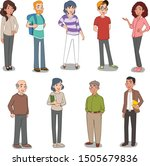 group of cartoon people. old... | Shutterstock .eps vector #1505679836