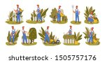 gardener working flat vector... | Shutterstock .eps vector #1505757176
