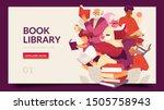 book library horizontal banner... | Shutterstock .eps vector #1505758943