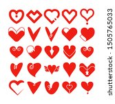 red love and  heart icons... | Shutterstock .eps vector #1505765033