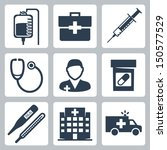 vector isolated medical icons...
