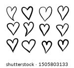 set of hand drawn heart.... | Shutterstock .eps vector #1505803133