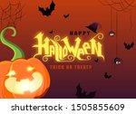 happy halloween hand lettering... | Shutterstock .eps vector #1505855609