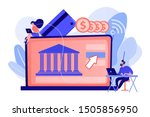tiny people with laptop and... | Shutterstock .eps vector #1505856950