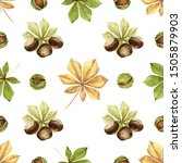 chestnuts.nuts and leaves on... | Shutterstock . vector #1505879903