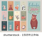 calendar 2020 with woodland... | Shutterstock .eps vector #1505911946