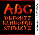 orange paper crafting alphabets ... | Shutterstock . vector #150591884