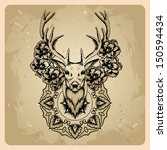 deer with flowers and circle... | Shutterstock . vector #150594434