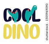 Dino Animal Color Text Polka...
