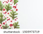flat lay christmas border with... | Shutterstock . vector #1505973719