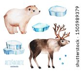 Watercolor Set With Cute Polar...