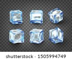 realistic blue solid ice cubes... | Shutterstock .eps vector #1505994749