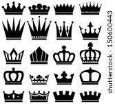 black crown icons set on white... | Shutterstock .eps vector #150600443