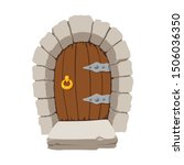 cartoon wooden door. medieval...