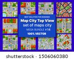 Map city top view set architecture design houses buildings transportation of blocks module of areas of the city construction and designing of the plan apartment of business of the urban environment