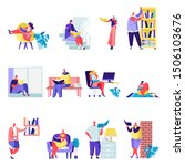 set of flat people reading or...   Shutterstock .eps vector #1506103676