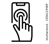 finger presses smartphone icon. ...