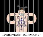 russian prisoner with tattoo.... | Shutterstock .eps vector #1506214319