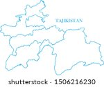 tajikistan map line blue color | Shutterstock .eps vector #1506216230
