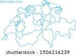 switzerland map line blue color | Shutterstock .eps vector #1506216239