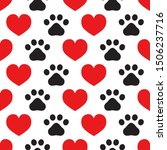Heart And Paw Print Seamless...