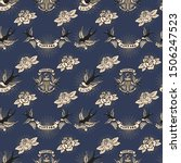 seamless pattern with swallows... | Shutterstock .eps vector #1506247523