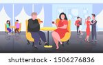 fat overweight couple sitting... | Shutterstock .eps vector #1506276836