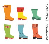 cute autumn flat rubber boots... | Shutterstock .eps vector #1506283649