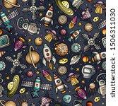 cartoon hand drawn space ... | Shutterstock . vector #1506311030